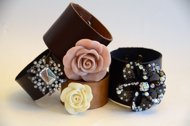 crafty jewelry: fancy leather cuffs tutorial