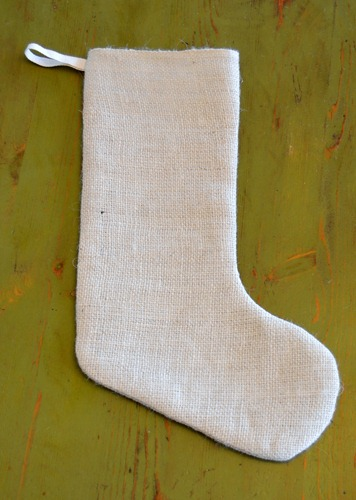 Burlap stocking tutorial for Simply stockings